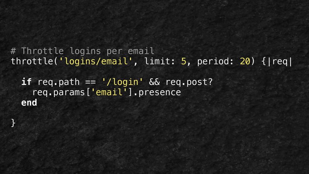 # Throttle logins per email throttle('logins/em...