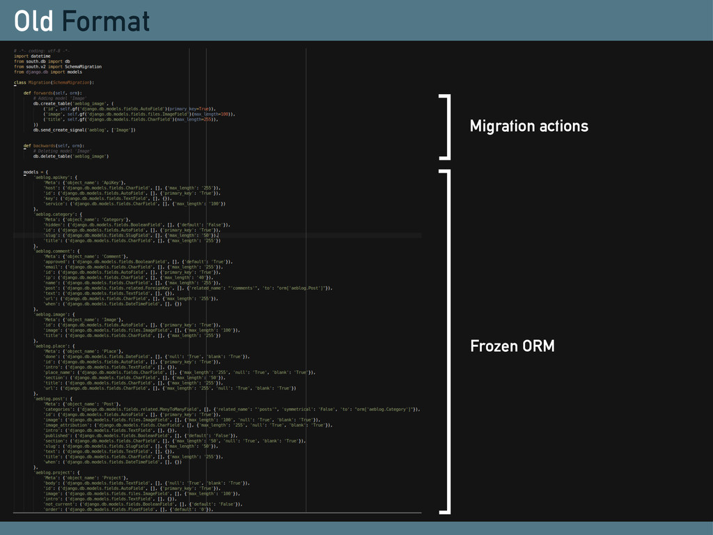 Old Format Migration actions Frozen ORM