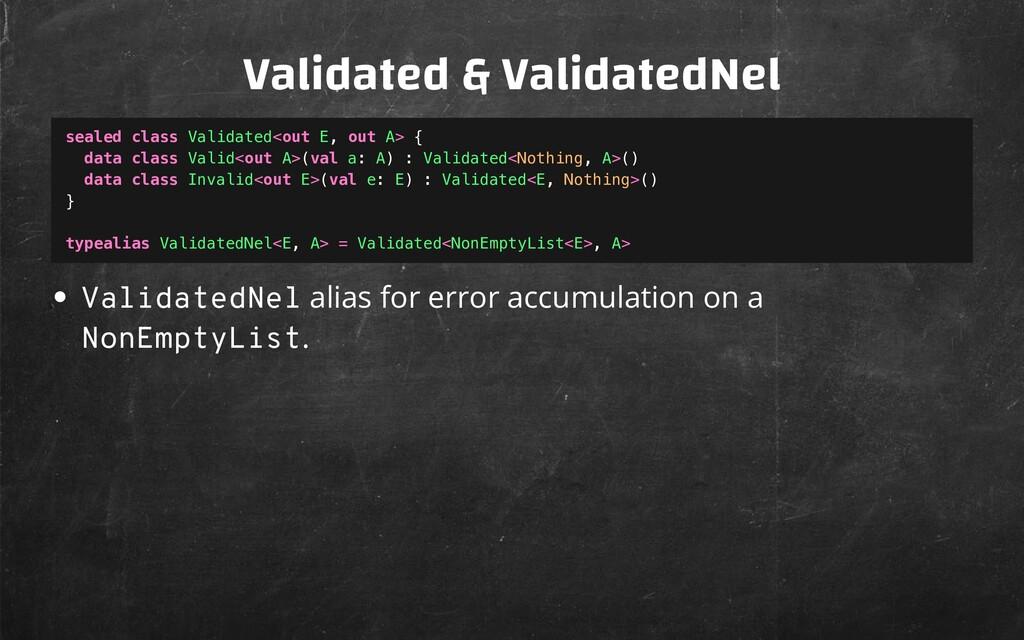 Validated & ValidatedNel ValidatedNel alias for...