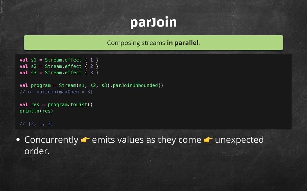 parJoin Composing streams in parallel. Concurre...