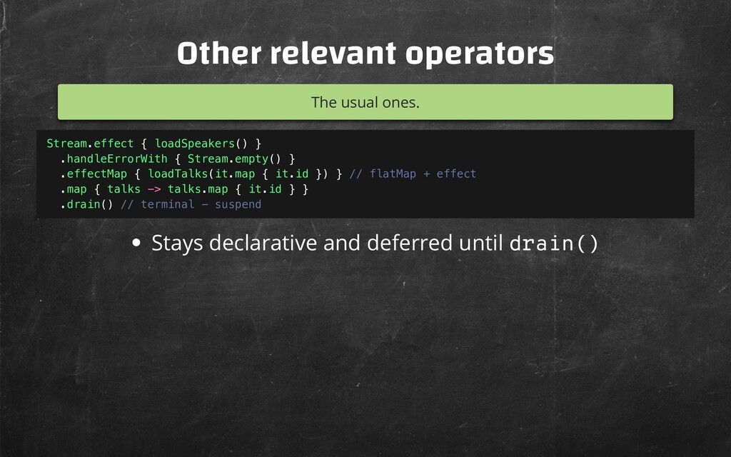 Other relevant operators The usual ones. Stays ...
