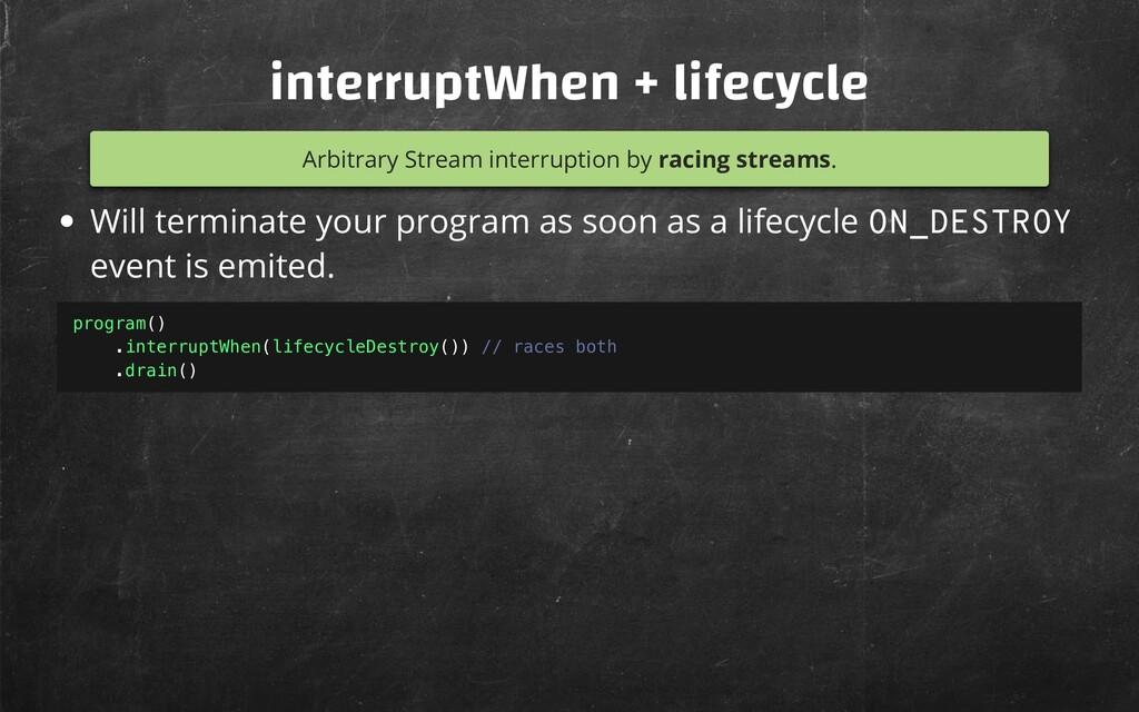 interruptWhen + lifecycle Arbitrary Stream inte...