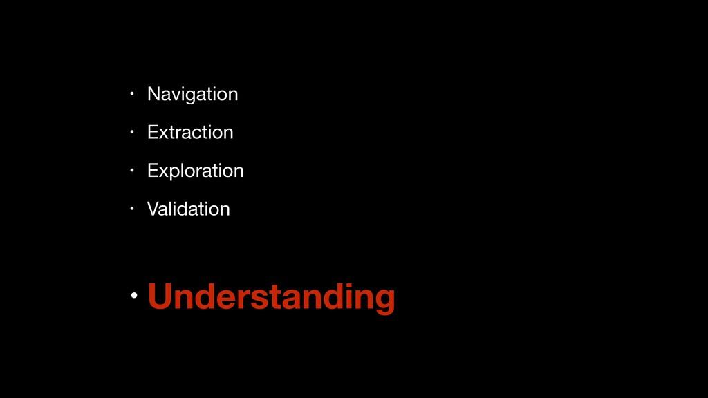 • Navigation  • Extraction  • Exploration  • Va...