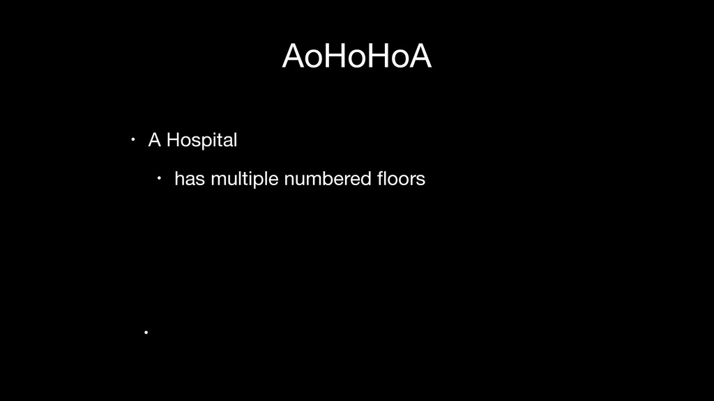 AoHoHoA • A Hospital  • has multiple numbered fl...