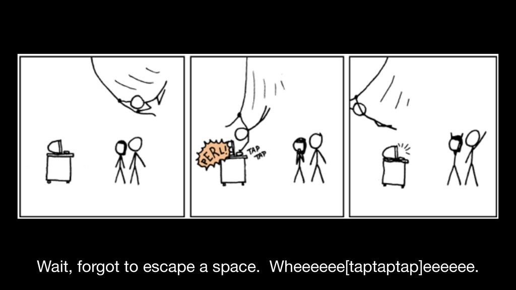 Wait, forgot to escape a space. Wheeeeee[taptap...