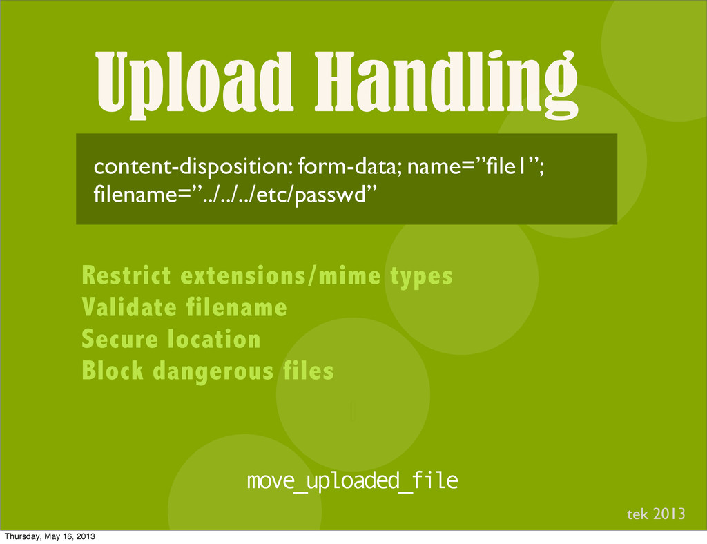 Upload Handling I content-disposition: form-dat...