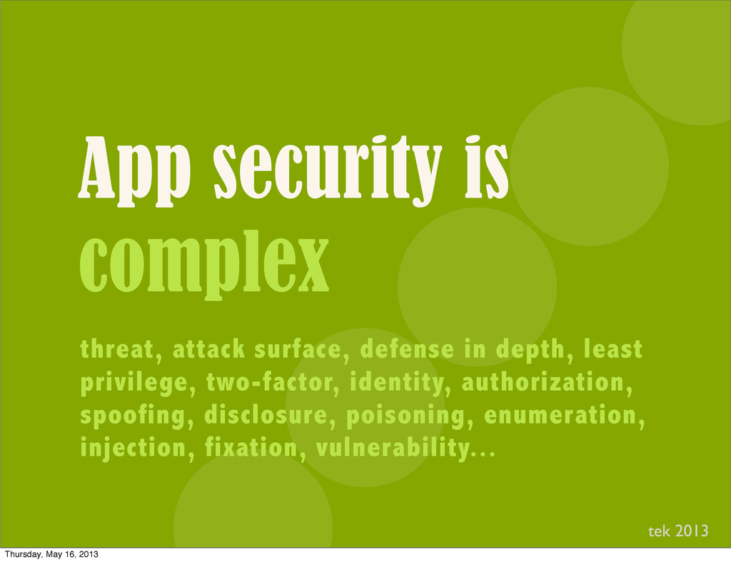 App security is complex threat, attack surface,...