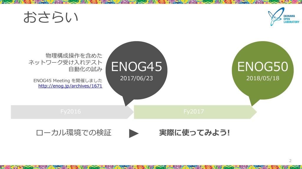 おさらい 2 Fy2016 Fy2017 ENOG45 2017/06/23 ENOG50 2...