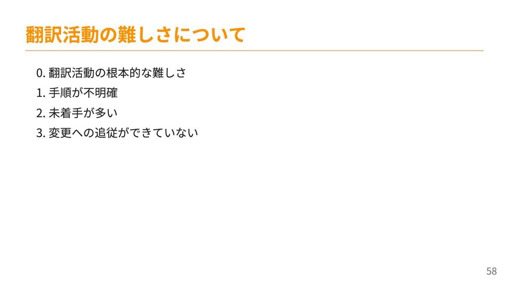 0. 翻訳活動の根本的な難しさ 1. 手順が不明確 2. 未着手が多い 3. 変更への追従がで...