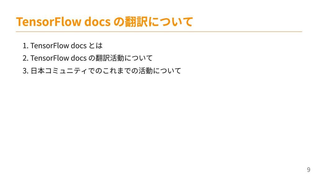 1. TensorFlow docs とは 2. TensorFlow docs の翻訳活動に...