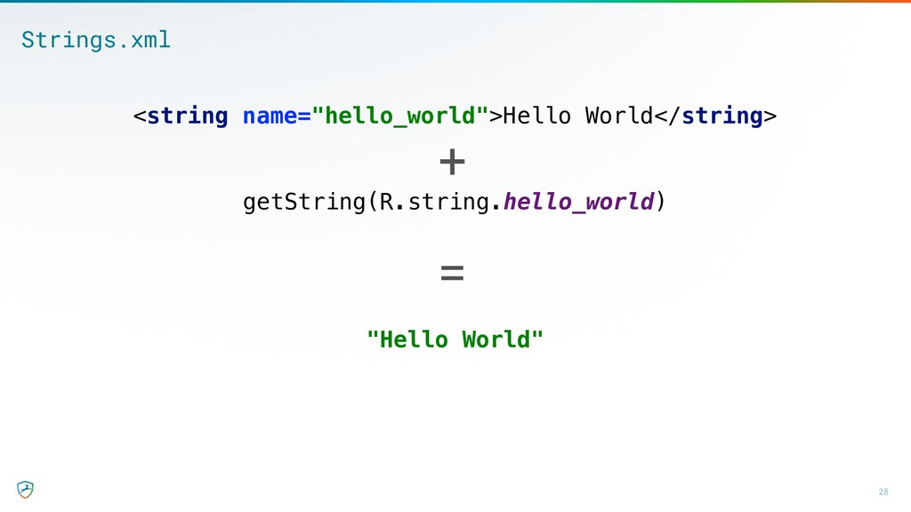 28 getString(R.string.hello_world) <string name...