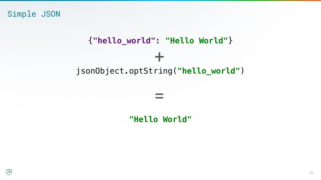 "jsonObject.optString(""hello_world"") 30 ""Hello W..."