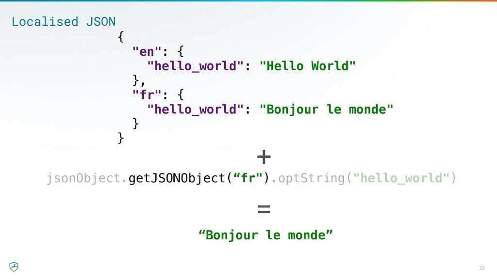 """32 Localised JSON { """"en"""": { """"hello_world"""": """"Hel..."""