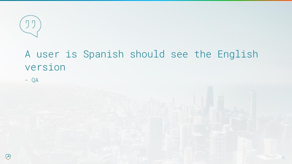 A user is Spanish should see the English versio...