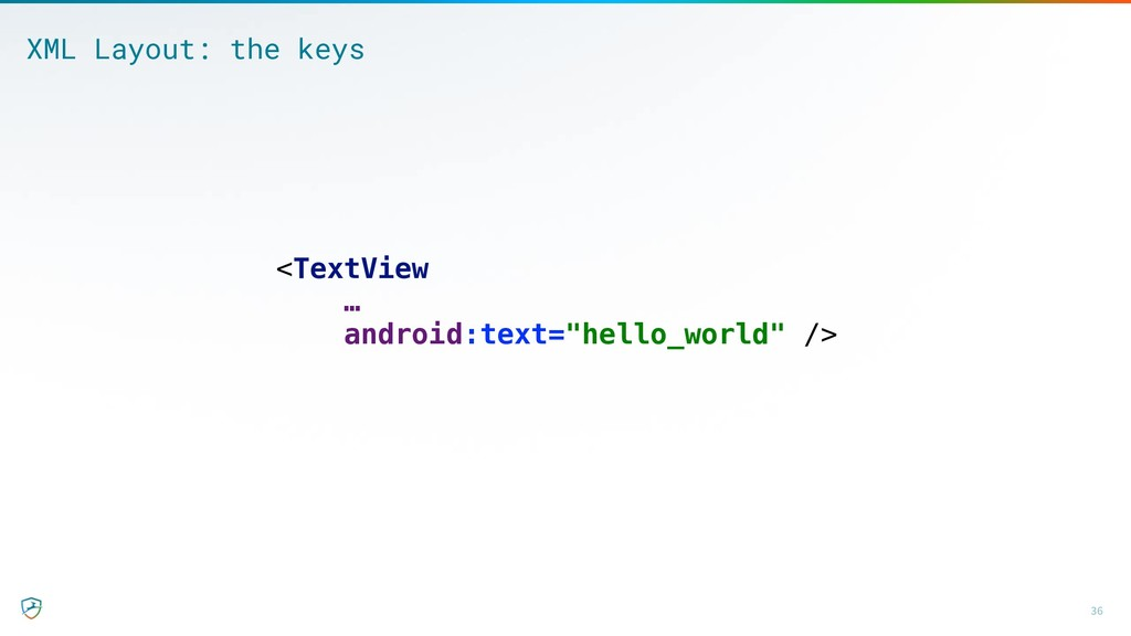 36 XML Layout: the keys <TextView … android:tex...
