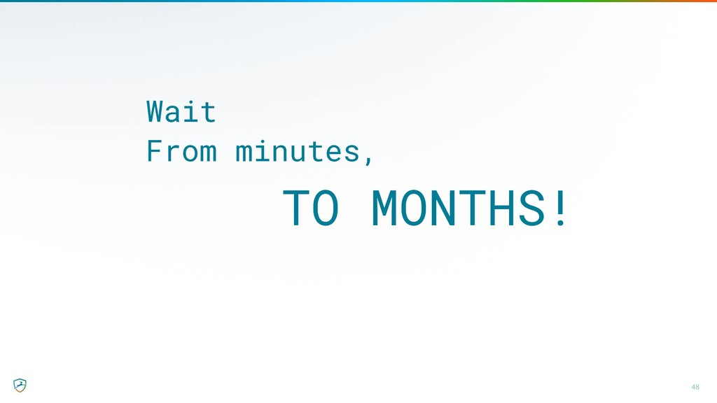 48 Wait From minutes, TO MONTHS!