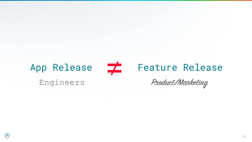 App Release Feature Release 58 ≠ Engineers Prod...