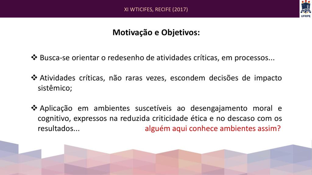 XI WTICIFES, RECIFE (2017) Motivação e Objetivo...