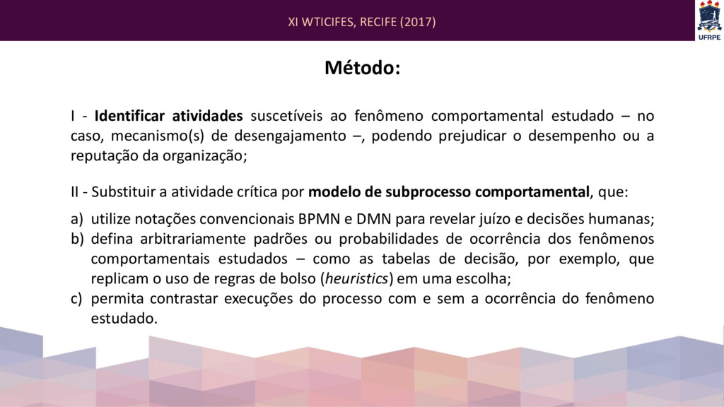 XI WTICIFES, RECIFE (2017) Método: I - Identifi...