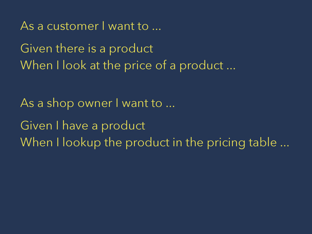 As a customer I want to ... Given there is a pr...