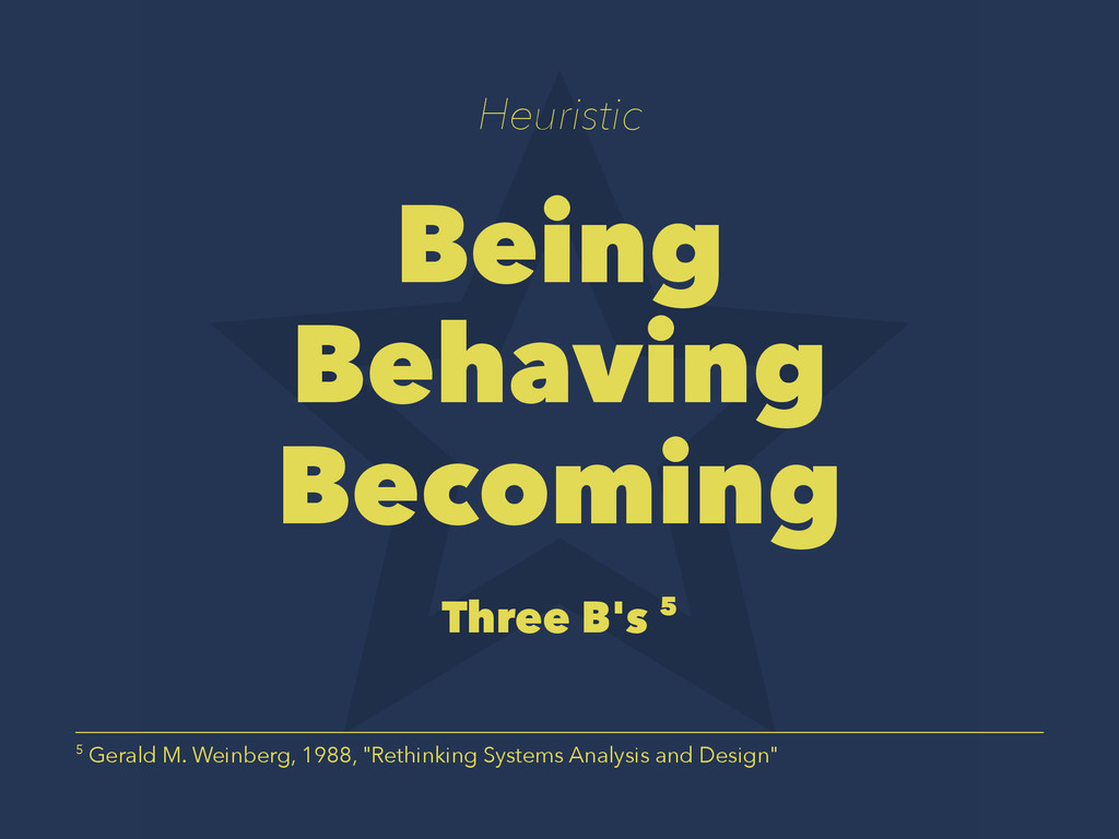 Heuristic Being Behaving Becoming Three B's 5 5...