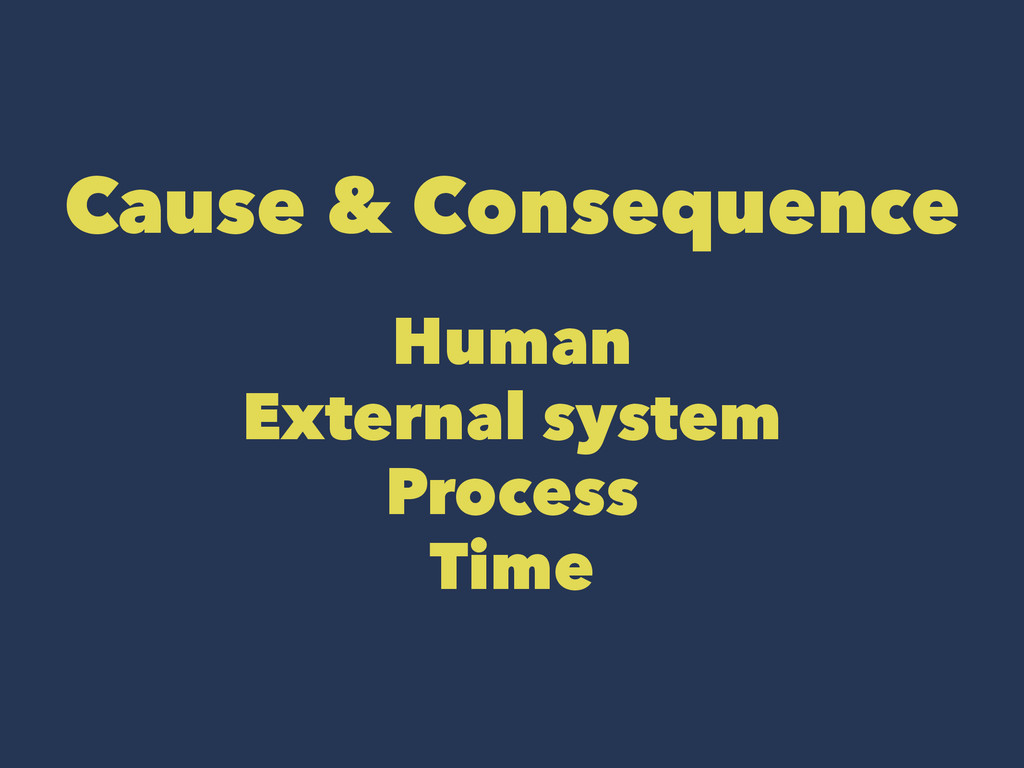Cause & Consequence Human External system Proce...
