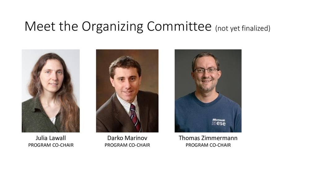 Meet the Organizing Committee (not yet finalize...