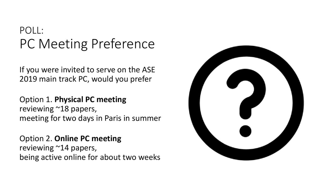 POLL: PC Meeting Preference If you were invited...