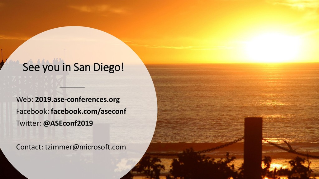 See you in San Diego! Web: 2019.ase-conferences...