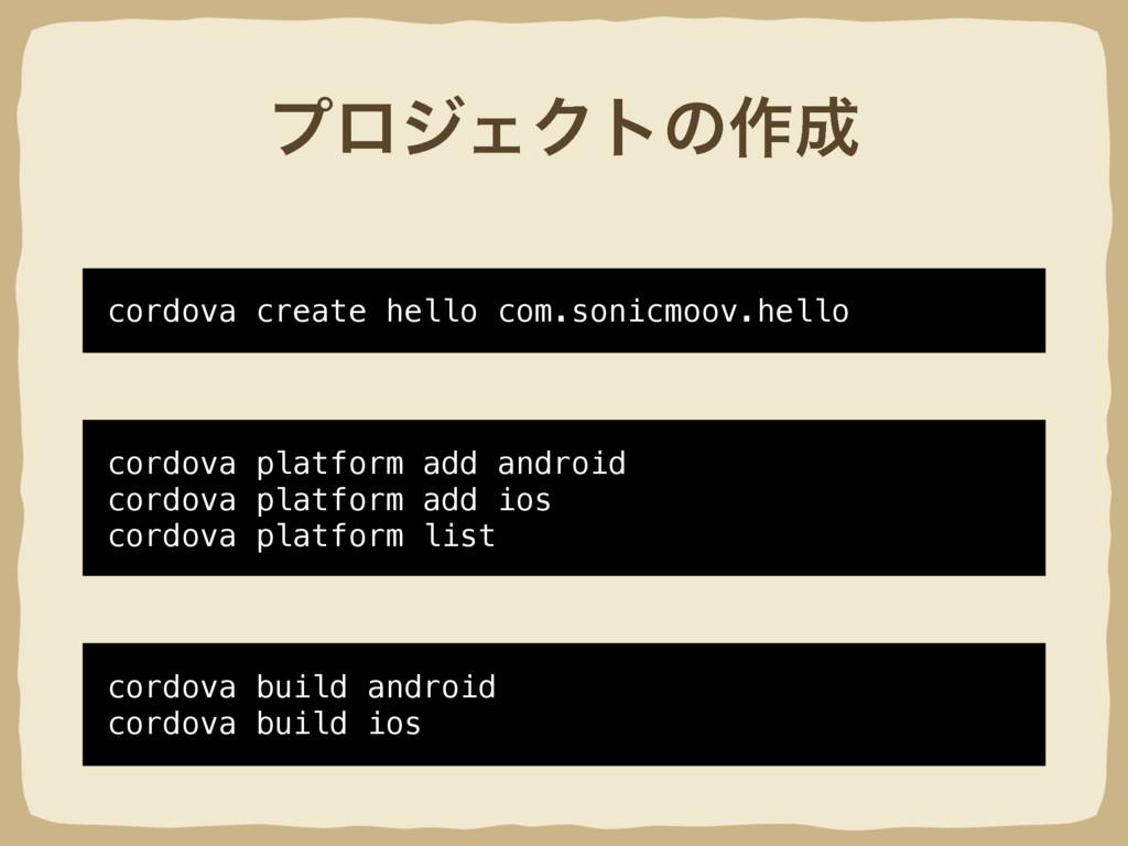 ϓϩδΣΫτͷ࡞ cordova create hello com.sonicmoov.he...