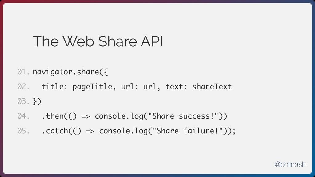 The Web Share API navigator.share({ title: page...