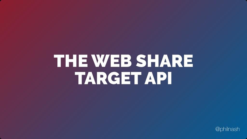 THE WEB SHARE TARGET API @philnash