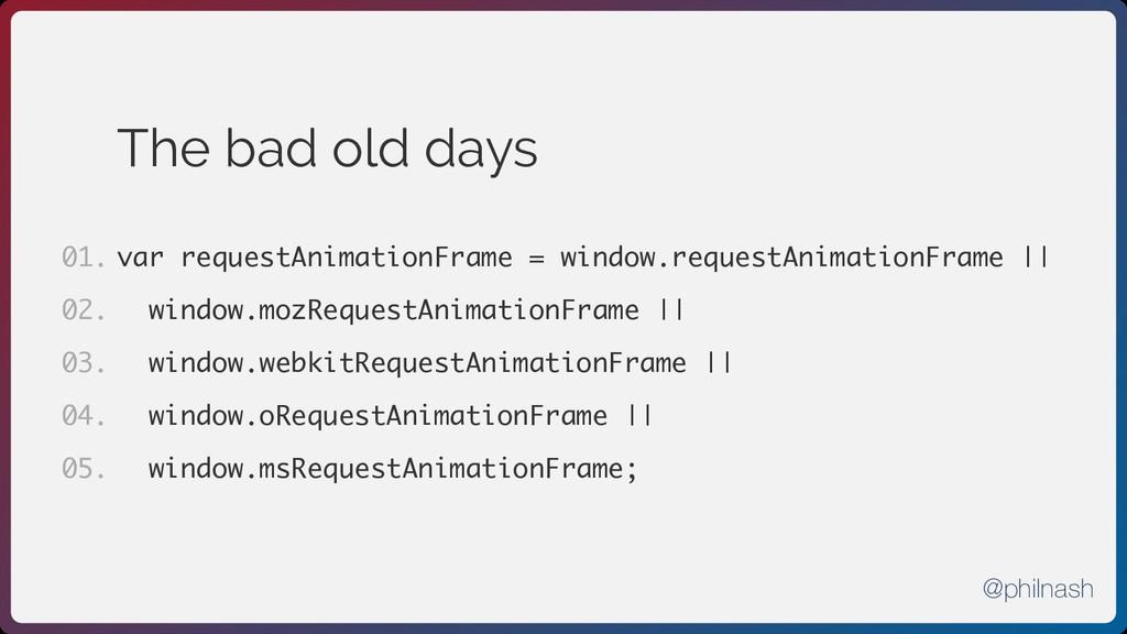 The bad old days var requestAnimationFrame = wi...