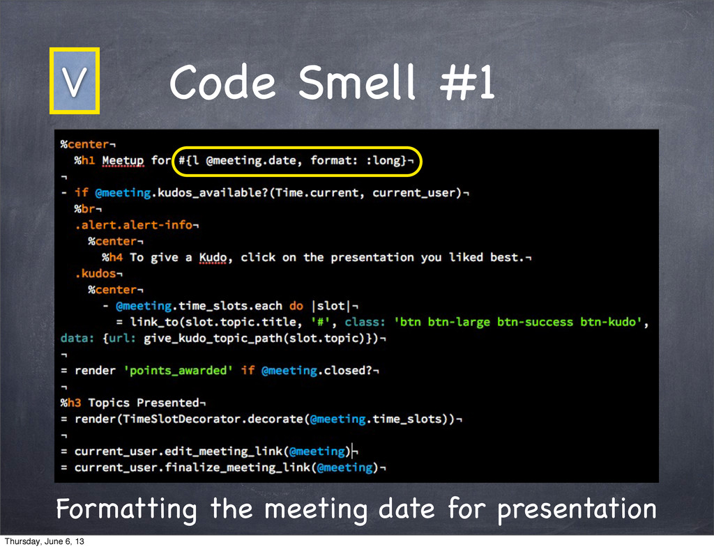 Code Smell #1 Formatting the meeting date for p...