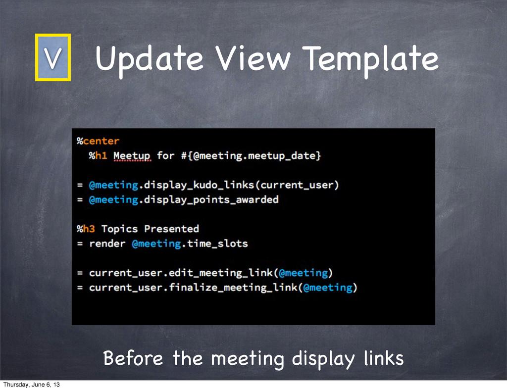 Before the meeting display links Update View Te...