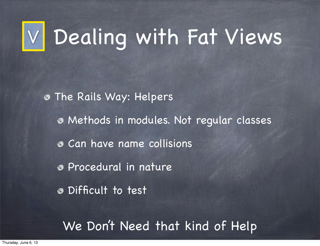 Dealing with Fat Views The Rails Way: Helpers M...