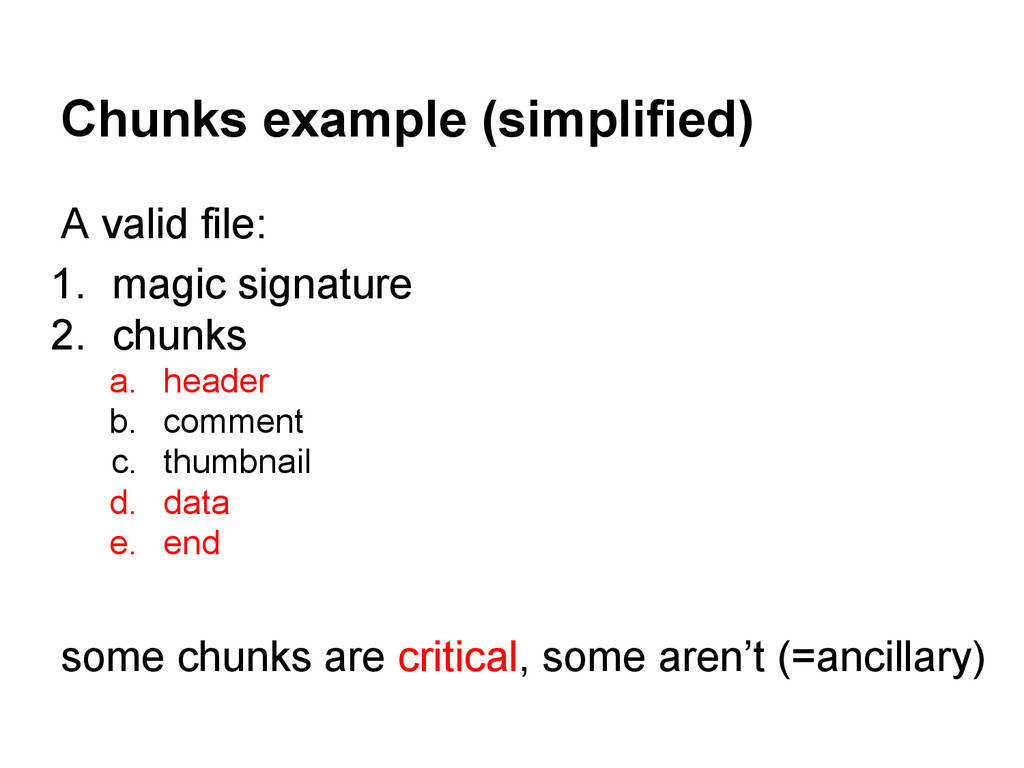 Chunks example (simplified) A valid file: 1. ma...