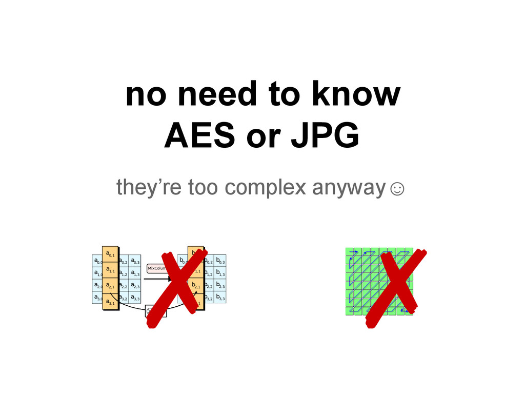 no need to know AES or JPG they're too complex ...
