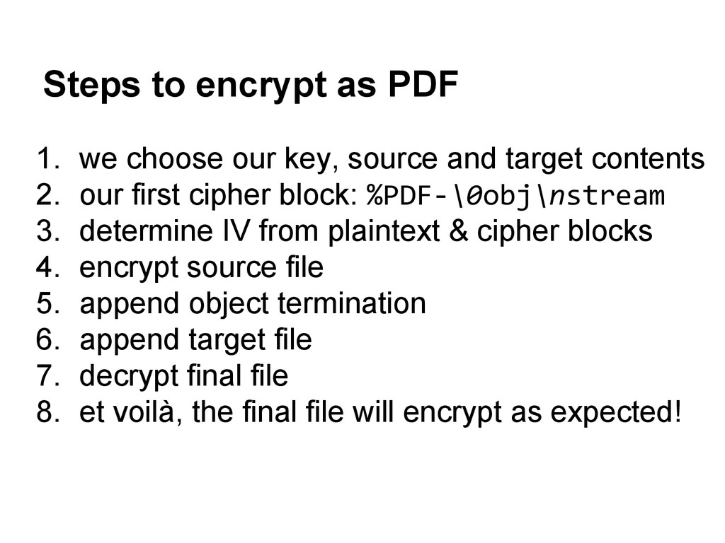 Steps to encrypt as PDF 1. we choose our key, s...