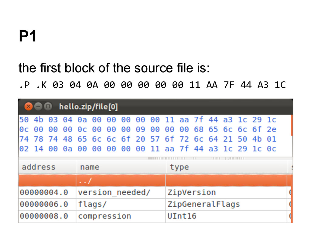 P1 the first block of the source file is: .P .K...