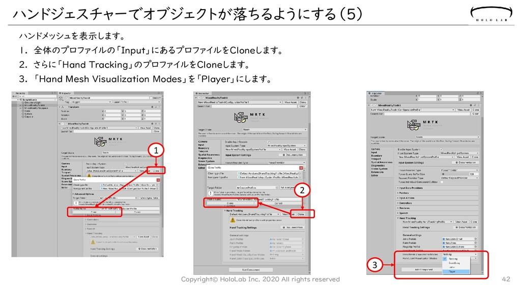 ハンドメッシュを表示します。 1. 全体のプロファイルの「Input」にあるプロファイルをCl...
