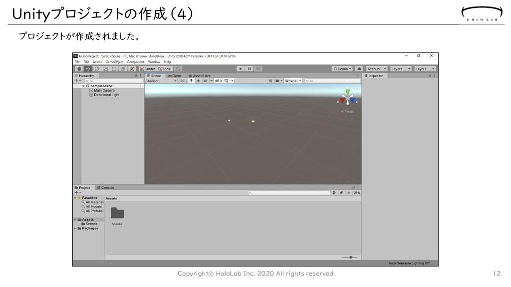 Unityプロジェクトの作成(4) プロジェクトが作成されました。 12 Copyright©...