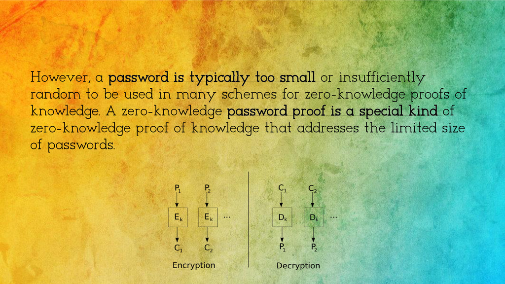 However, a password is typically too small or i...