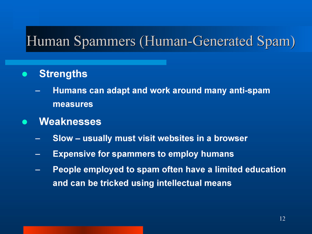 12 Human Spammers (Human-Generated Spam) Human ...