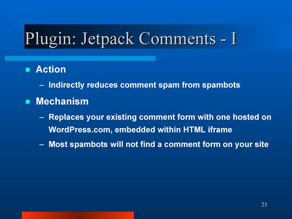23 Plugin: Jetpack Comments - I Plugin: Jetpack...