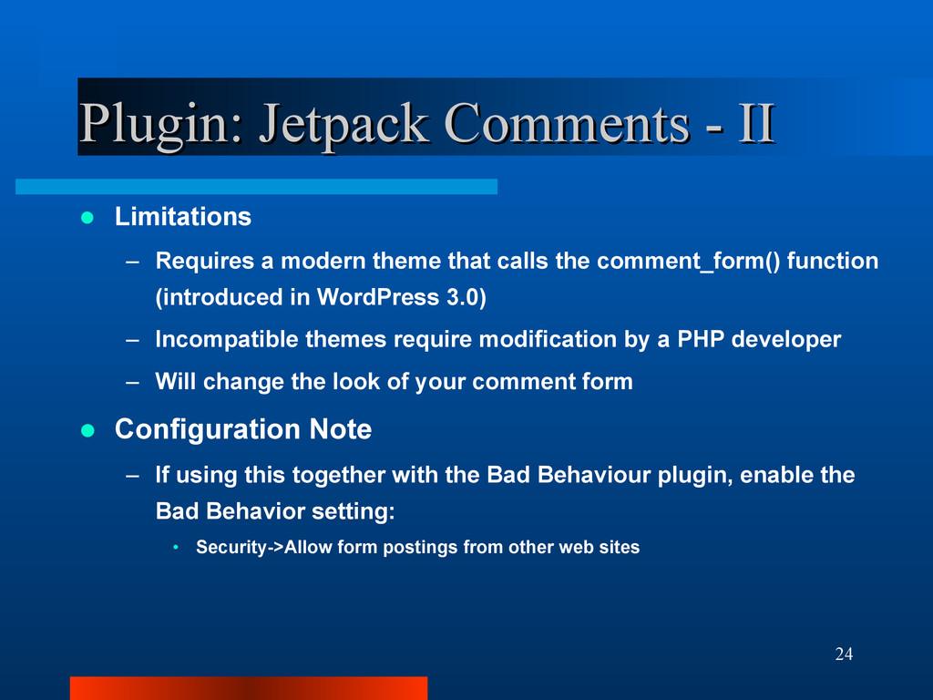 24 Plugin: Jetpack Comments - II Plugin: Jetpac...