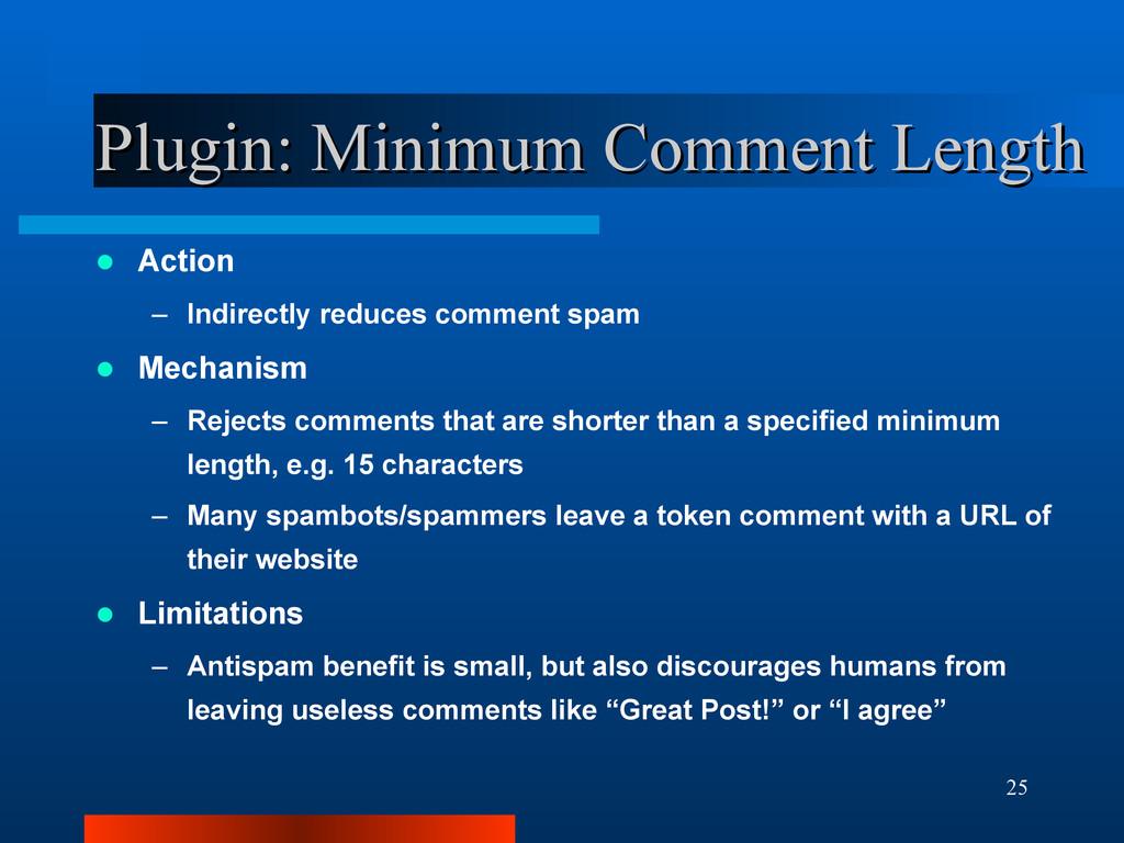 25 Plugin: Minimum Comment Length Plugin: Minim...