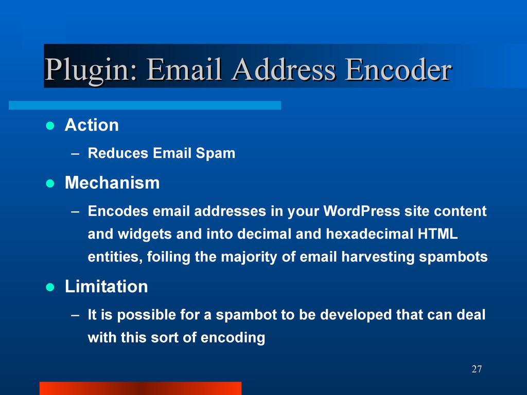 27 Plugin: Email Address Encoder Plugin: Email ...