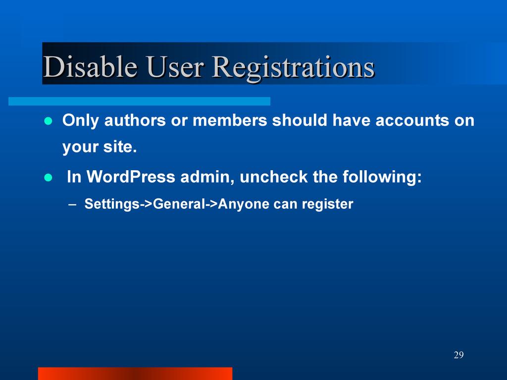 29 Disable User Registrations Disable User Regi...