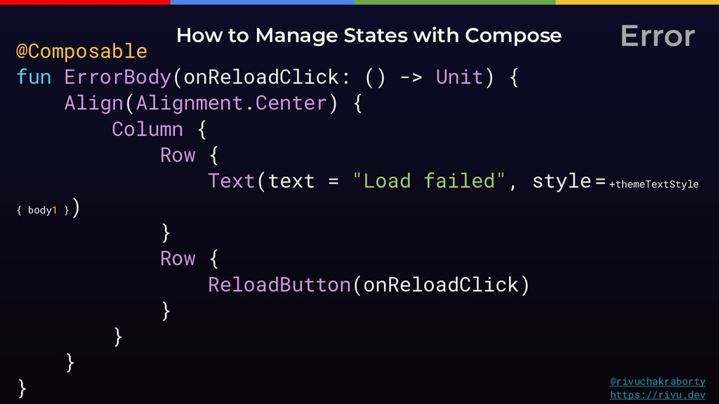 Error How to Manage States with Compose @rivuch...